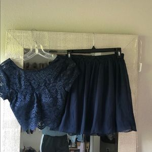 Navy Blue Size 1 two piece dress.